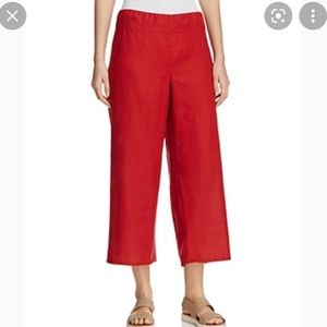 """Eileen Fisher Cropped Linen """"The Wide Pant"""" L"""
